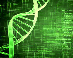 Green background DNA Helix squares and text